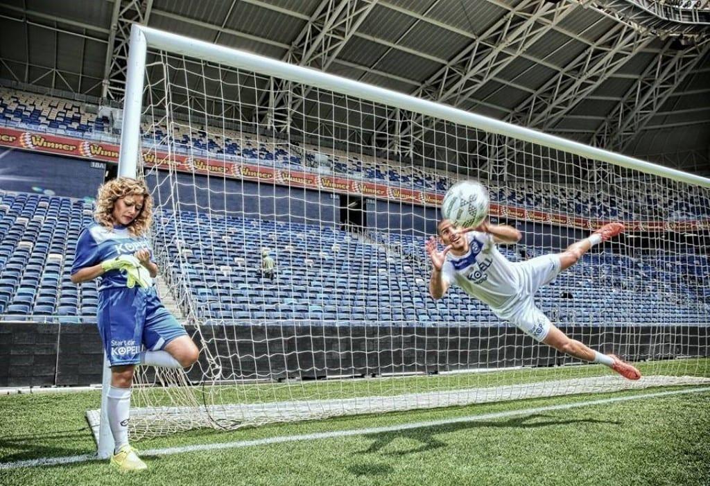 הפקת צילומים זוגיים על כר הדשא באצטדיון סמי עופר